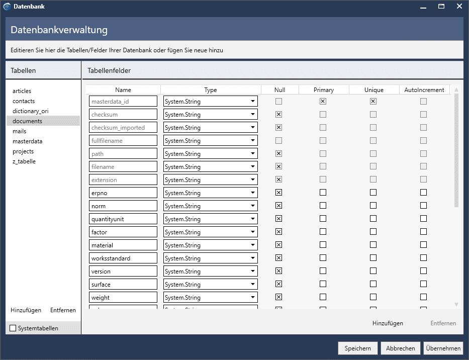 Datenbankfelder ergänzen: Große Anzahl an freien Datenbankfeldern im Standard. Hinzufügen neuer Felder oder Tabellen über grafischen Datenbankeditor. Ohne SQL Kenntnisse.