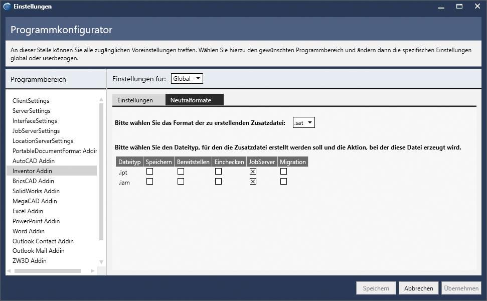 Der Programmkonfigurator in der Zeichnungsverwaltung Inventor